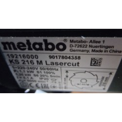 Järkamissaag Metabo KS 216 M